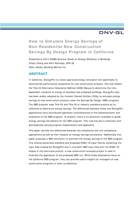 How to simulate energy savings of non-residential new construction savings by design program in California