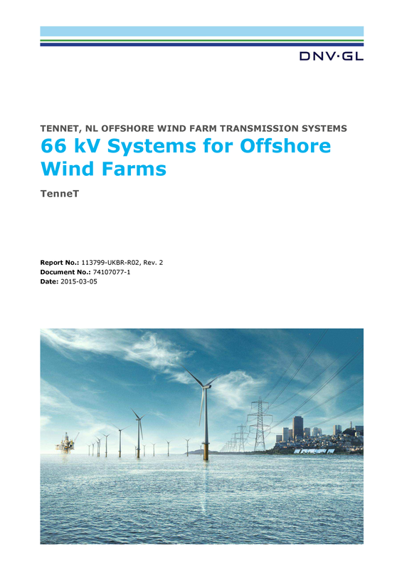 66 kV systems for offshore wind farms