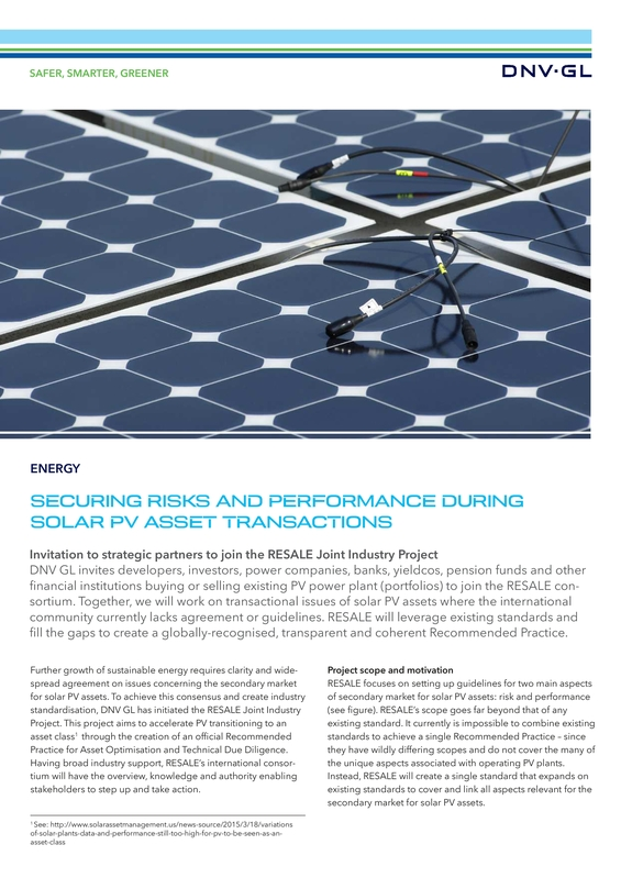 Securing risks and performance during solar PV asset transactions