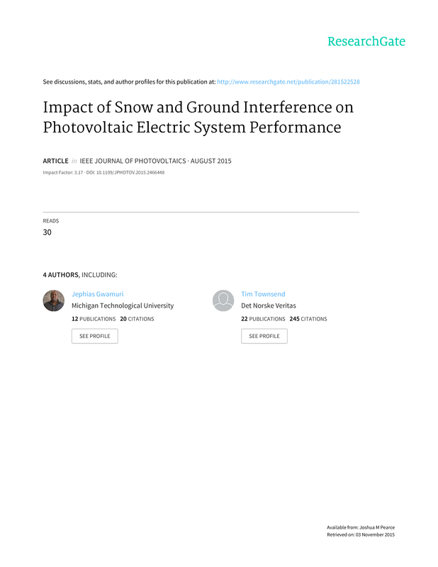 Impact of snow and ground interference on photovoltaic electric system performance