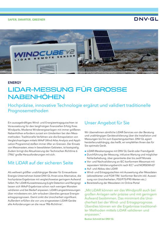 LiDAR-Messung für grosse Nabenhöhen
