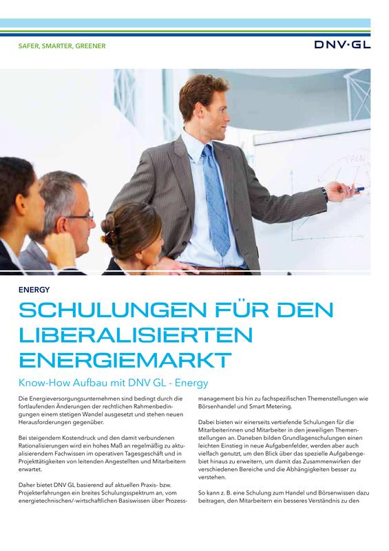 Schulungen für den liberalisierten Energiemarkt
