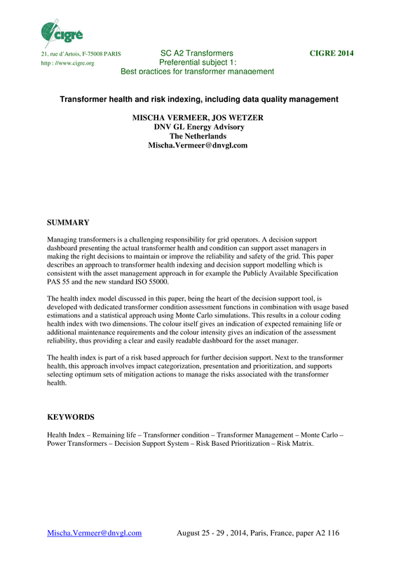 Transformer health and risk indexing, including data quality management