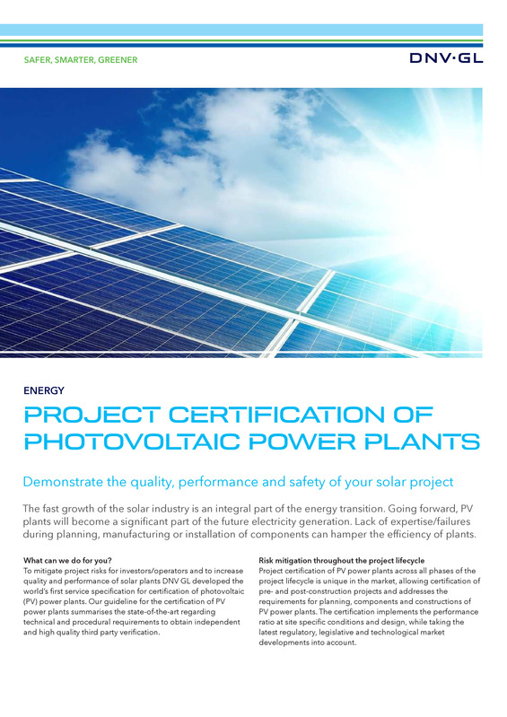 Project certification of photovoltaic power plants