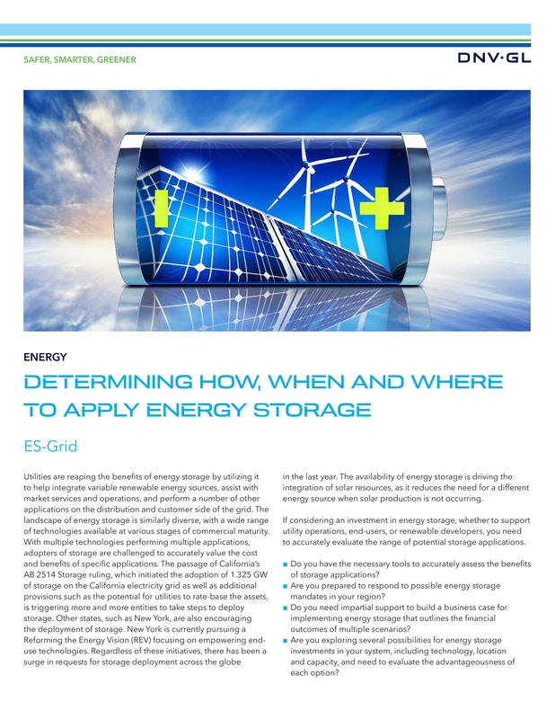 Determining how, when, and were to apply energy storage