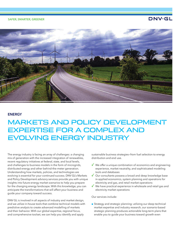 Markets and policy development expertise for a complex and evolving energy industry