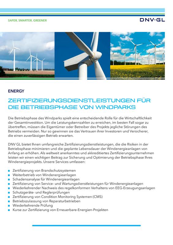 Zertifizierungsdienstleistungen für die Betriebsphase von Windparks