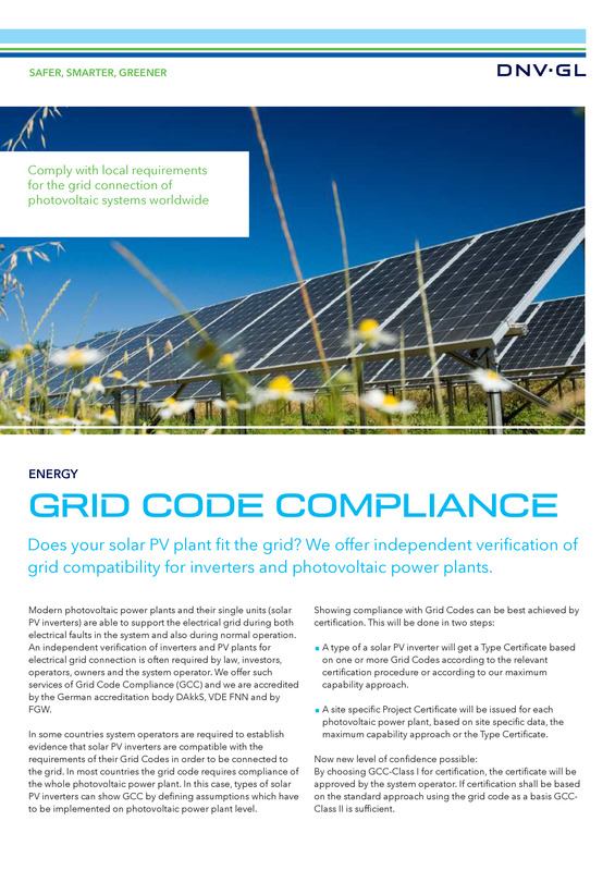 Grid Code Compliance for solar