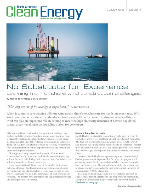 No Substitute for Experience - North American Clean Energy - 02.2014