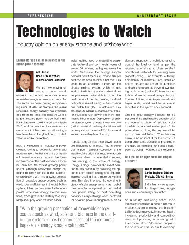 Technologies to Watch - Renewable Watch - November 2016