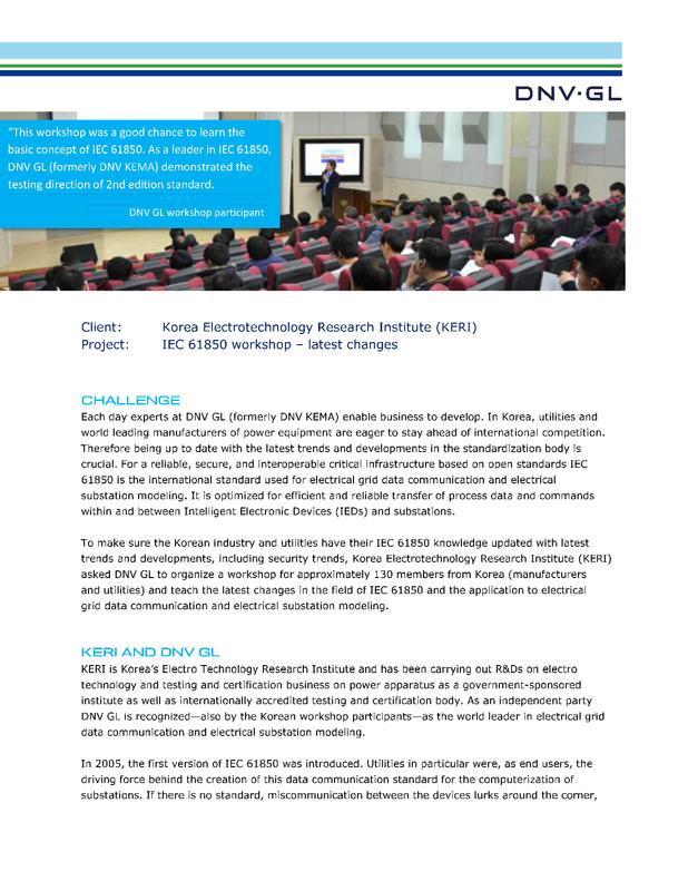 Korea Electrotechnology Research Institute (KERI) IEC 61850 workshop