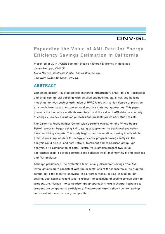 Expanding the Value of AMI Data for Energy Efficiency Savings Estimations