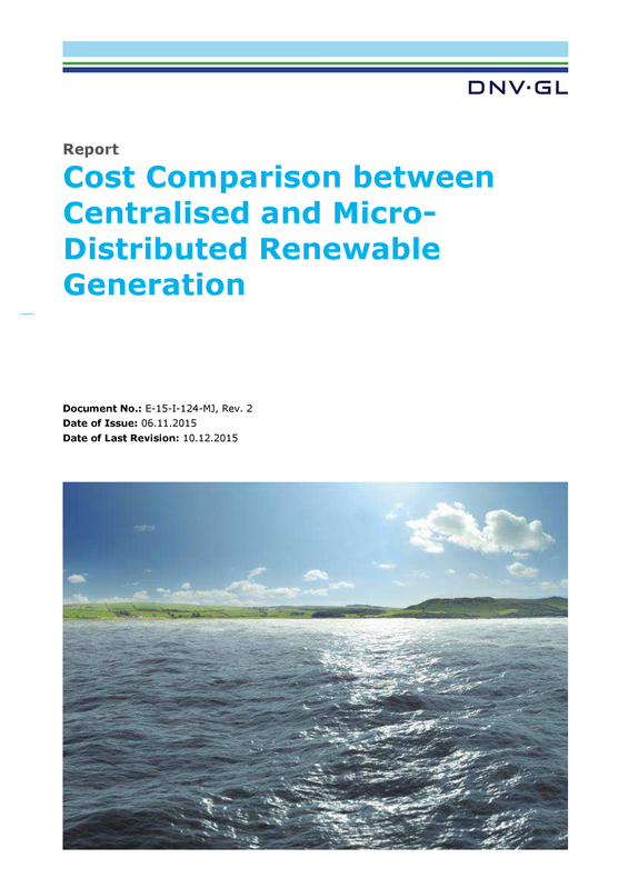 Cost comparison centralized and distributed renewables