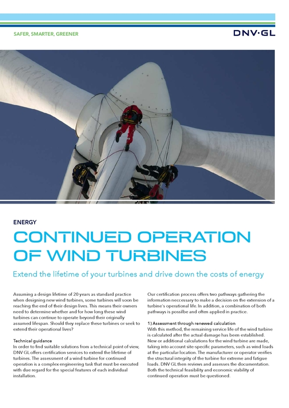 Continued operation of wind turbines