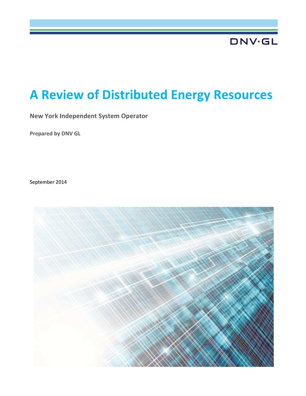 A DNV GL Report: A Review of Distributed Energy Resources for NYISO