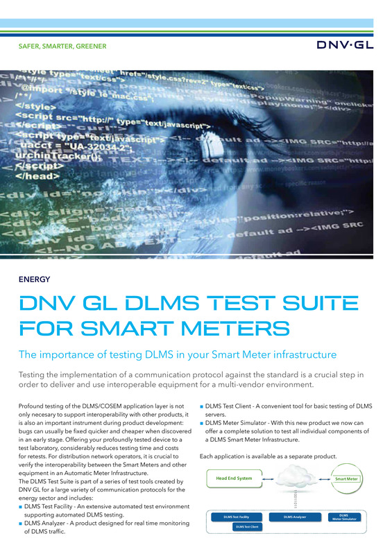 DLMS test suite for smart meters