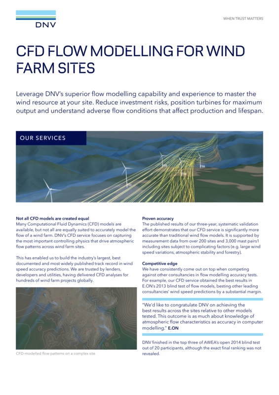 CFD flow modelling for wind farm sites