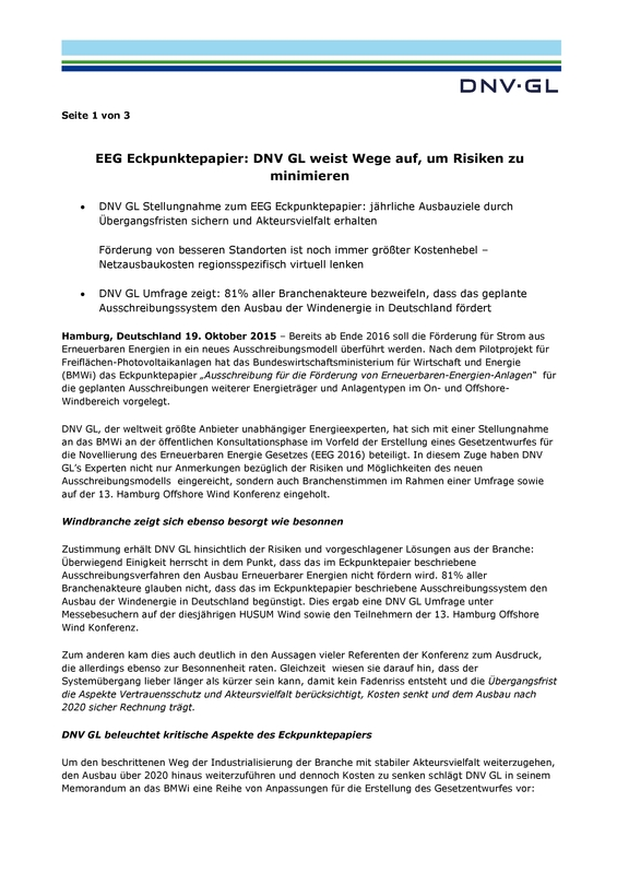 DNV GL Press Release Eckpunkte EEG