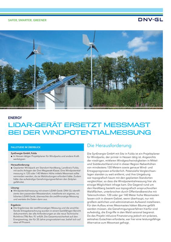 LiDAR-Ger�t ersetzt Messmast bei der Windpotentialmessung