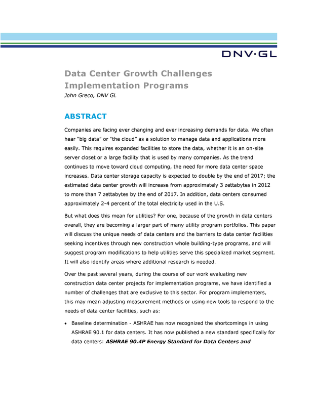 Data Center Growth Challenges Implementation Programs - white paper