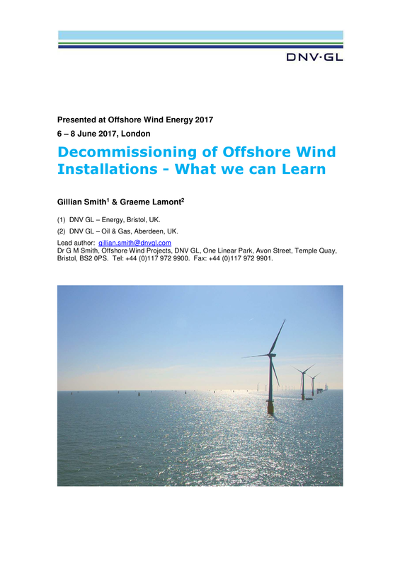 Decommissioning of Offshore Wind Installations - What we can Learn