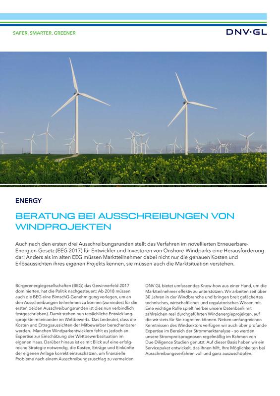 Beratung bei Ausschreibungen von Windprojekten