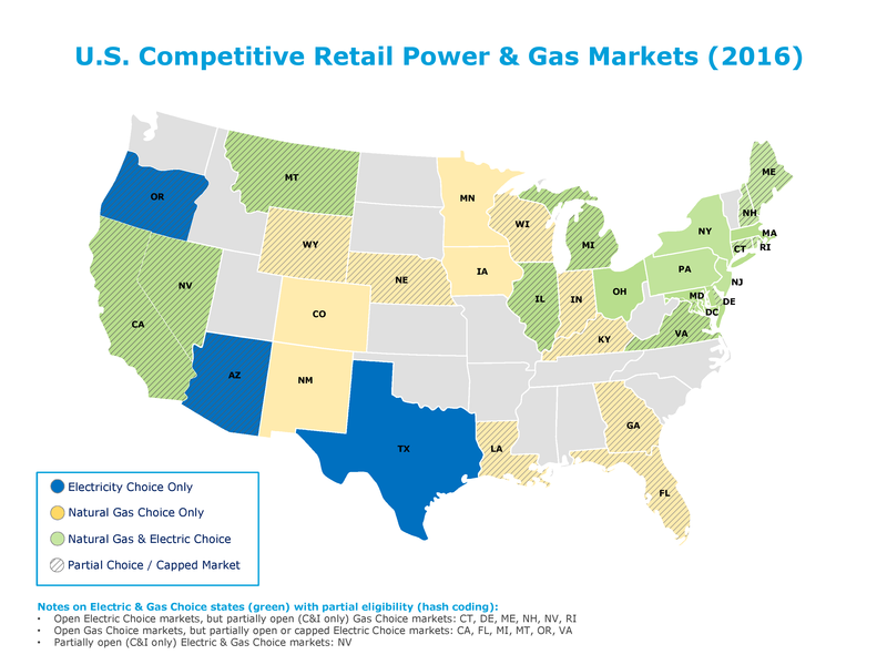 US retail power and gas deregulation map