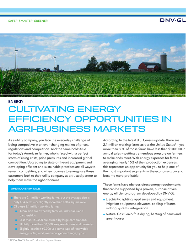 Cultivating energy efficiency opportunities in agri-business markets