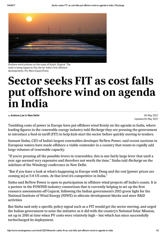 Sector seeks FIT as cost falls put offshore wind on agenda in India _ Recharge.pdf
