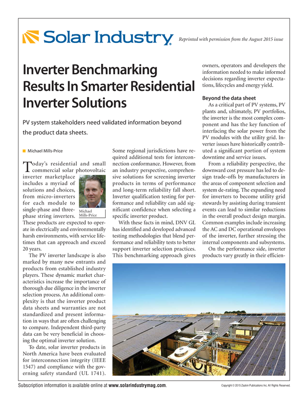 Inverter Benchmarking Results In Smarter Residential Inverter Solutions