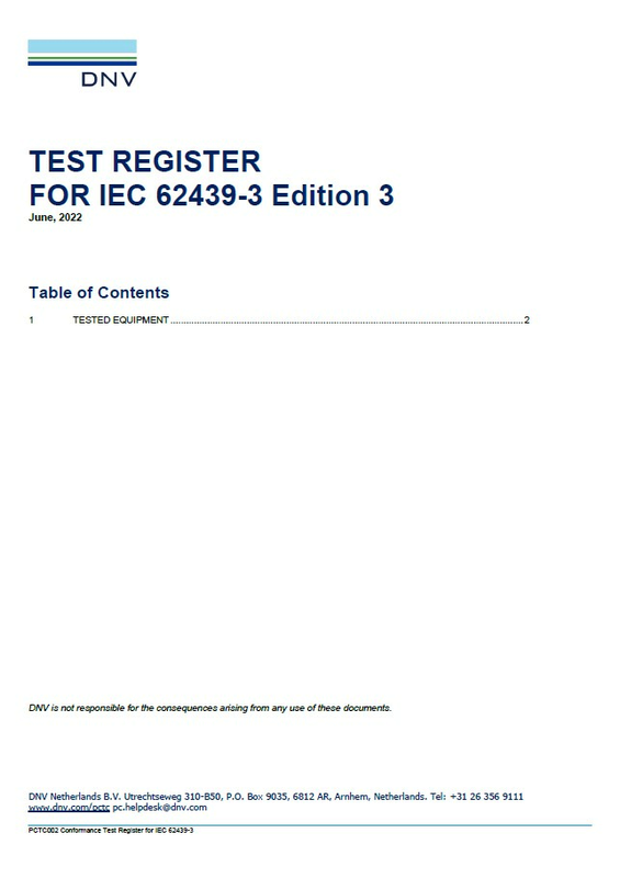 Test Register for IEC 62439-3 Edition 3, March 2021