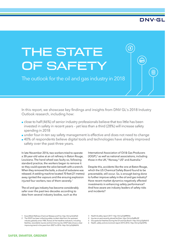 The State of Safety: The outlook for the oil and gas industry  in 2018-special report