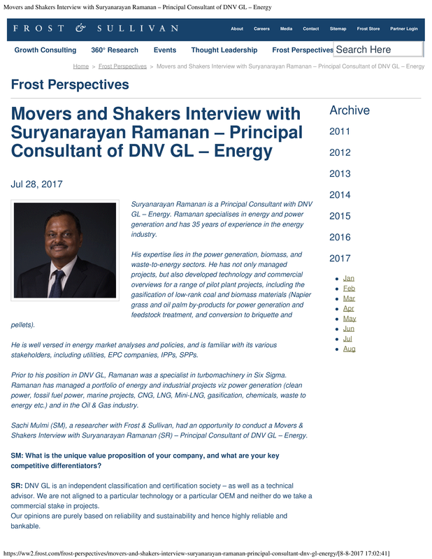 Movers and Shakers Interview with Suryanarayan Ramanan