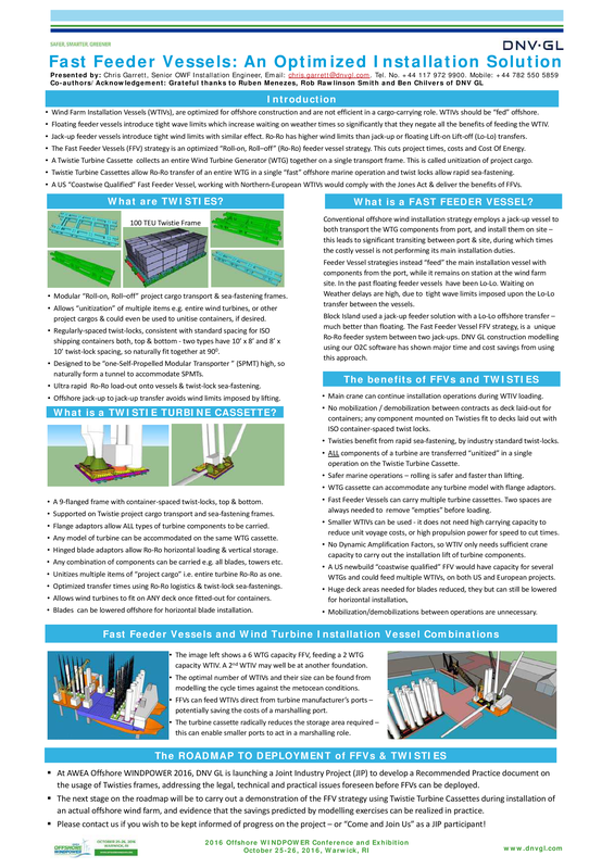 Fast Feeder Vessels: an optimized installation solution - 10-2016 - poster