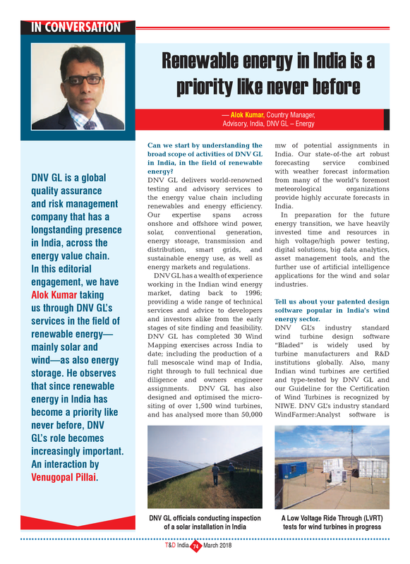 T&D India - Renewable Energy in India - interview DNV GL 03-2018