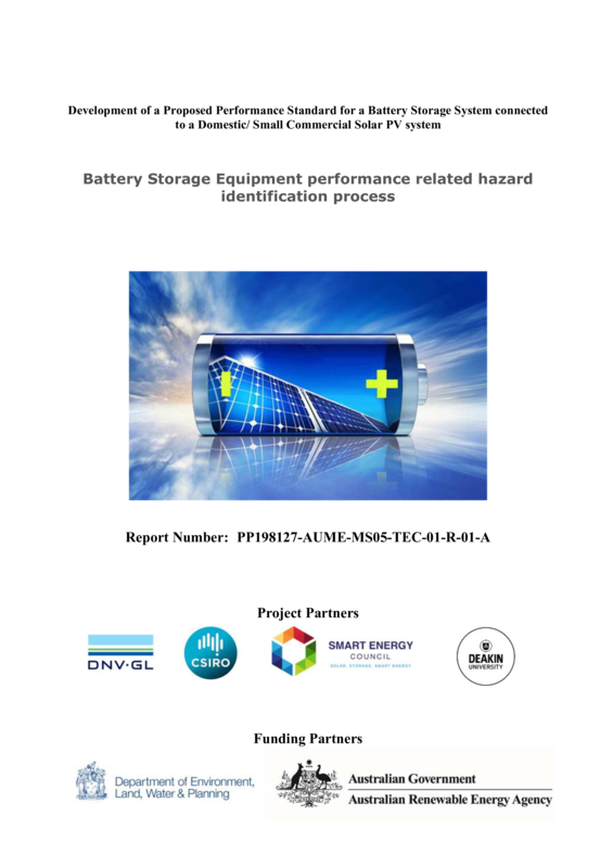 ABPS Battery Storage Equipment performance related hazard identification process