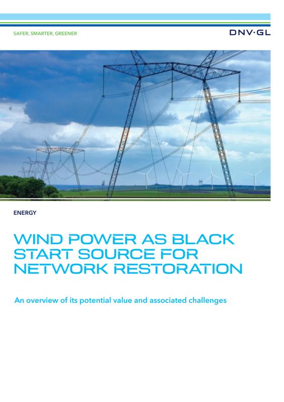 Wind power as black start source for network restoration