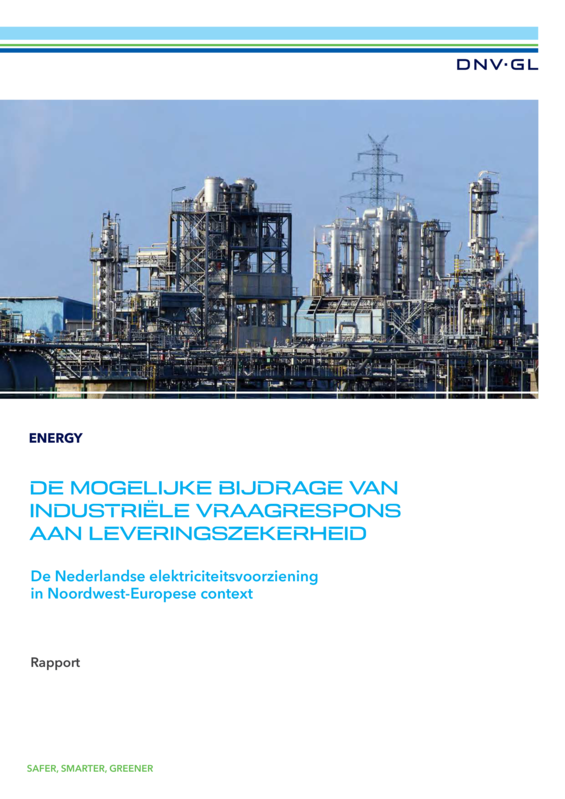 De mogelijke bijdrage van industri�le vraagrespons aan leveringszekerheid - rapport