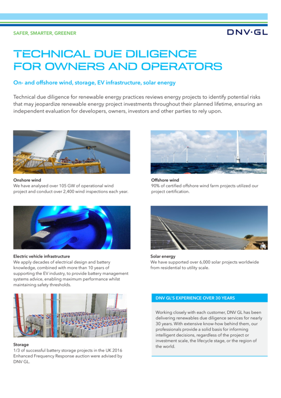 Technical due diligence for owners and operators