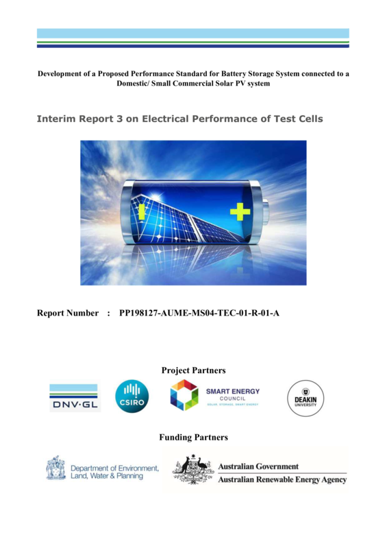 ABPS interim report 3 on Electrical Performance of Test Cells