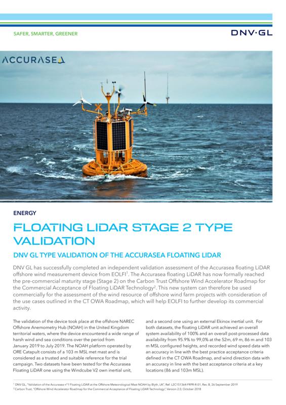 Floating LiDAR stage 2 type validation