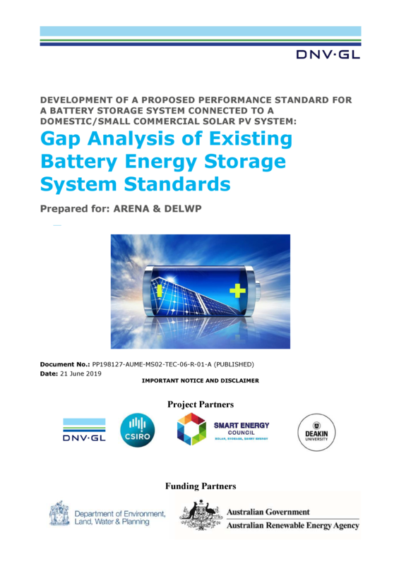 ABPS Gap analysis of existing battery energy storage system standards - full report