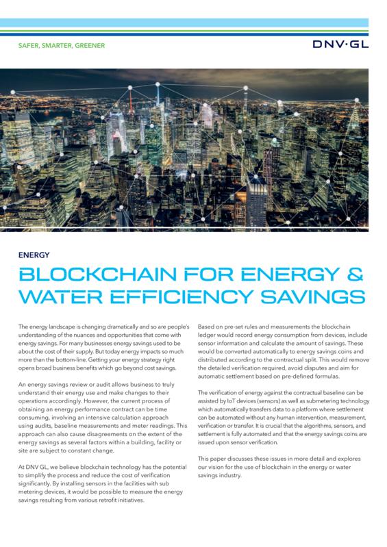 Blockchain for energy & water efficiency savings