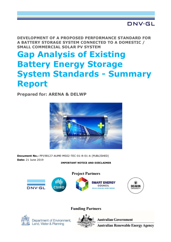 ABPS Gap analysis of existing battery energy storage system standards - summary report