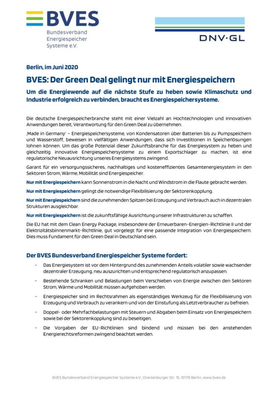 BVES Der Green Deal gelingt nur mit Energiespeichern