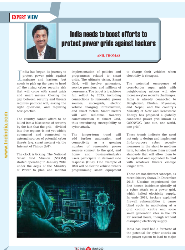 India needs to boost efforts to protect power grids against hackers