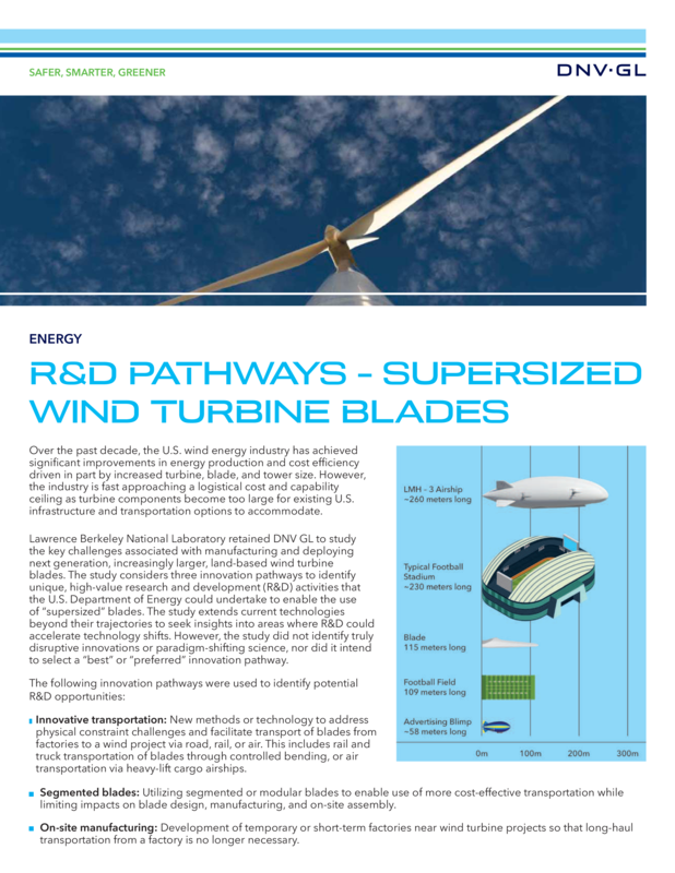 Supersized wind turbine blades report one pager