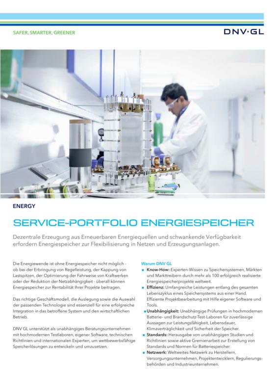 Service Portfolio Energiespeicher