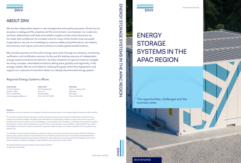 Energy Storage Systems in the APAC region - white paper