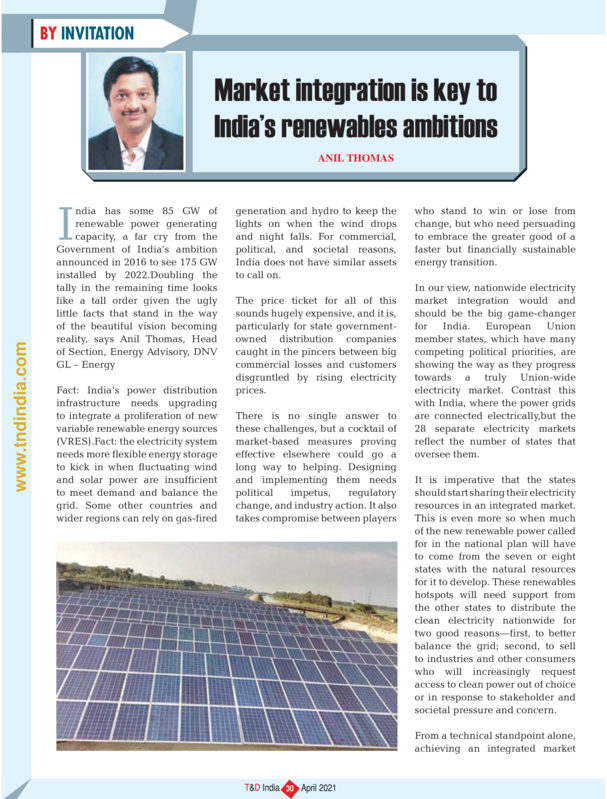 Market integration is key to India�s renewables ambitions